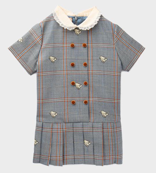 Baby Chick Plaid Wool Dress Grey