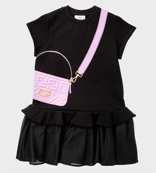 Fendi Baguette Logo Dress Black