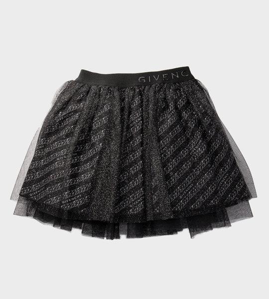 Logo Glitter Skirt Black