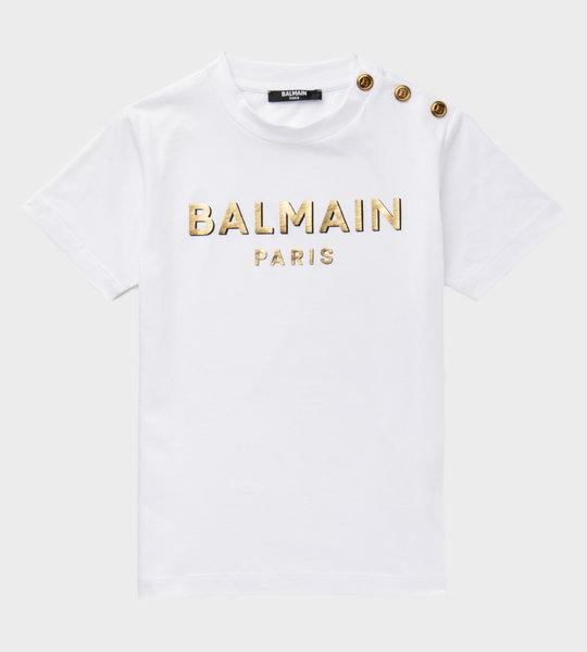 Button Logo T-shirt White