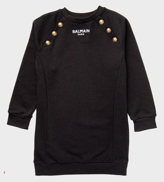 Button Logo Dress Black