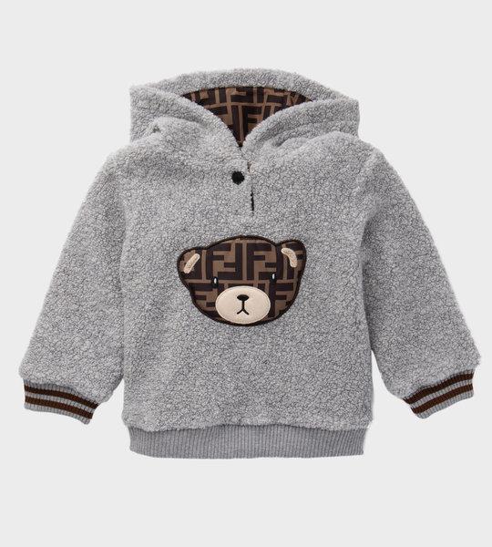 Baby Hoodie Teddy Fleece Grey