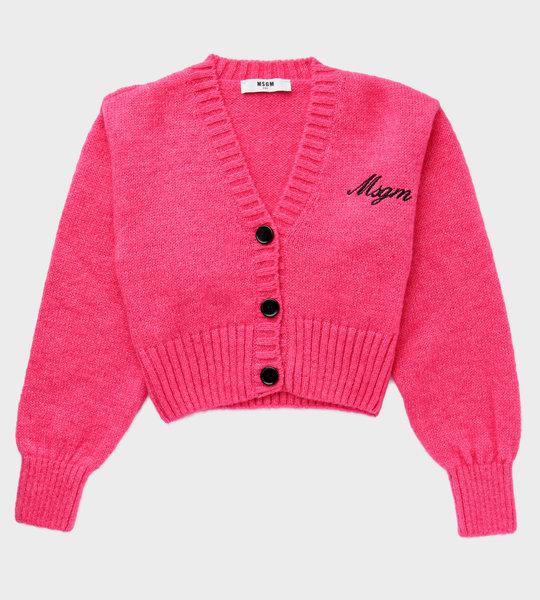Embroidered Logo Cardigan Pink