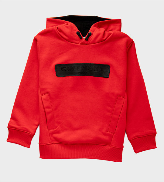 Logo Paint Cotton Hoodie Red