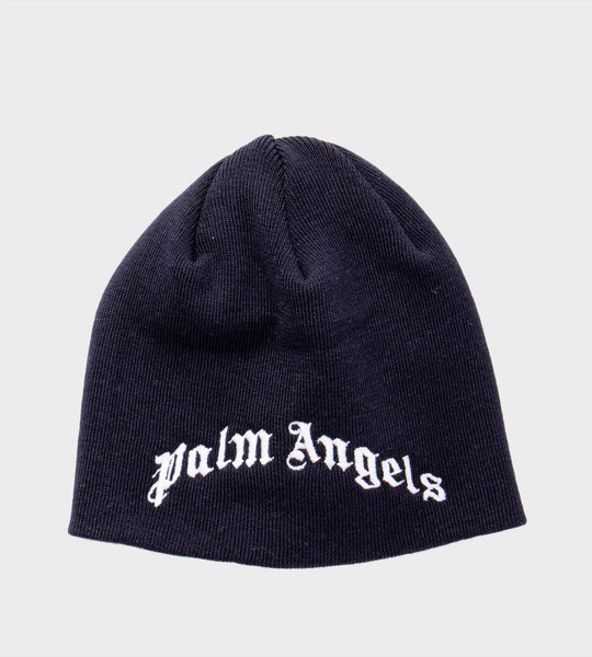 Logo Embroidered Wool Knit Hat Navy