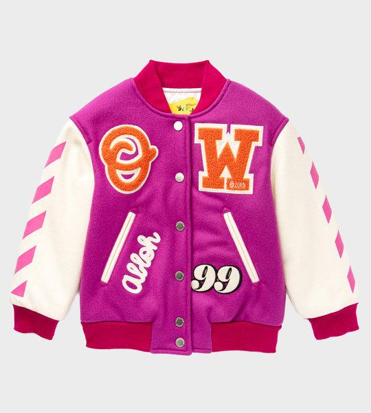 Appliquéd Wool Blend Jacket Pink