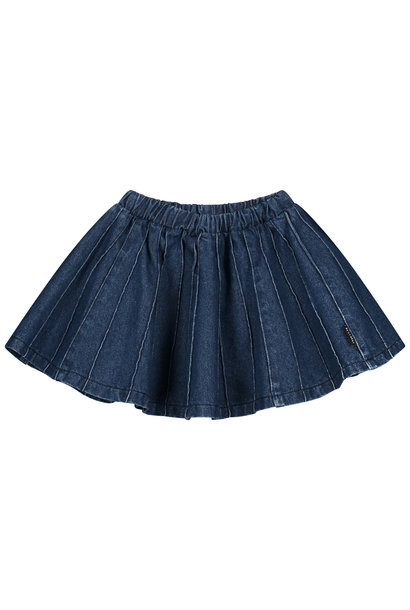 Sally denim plisse skirt indigo
