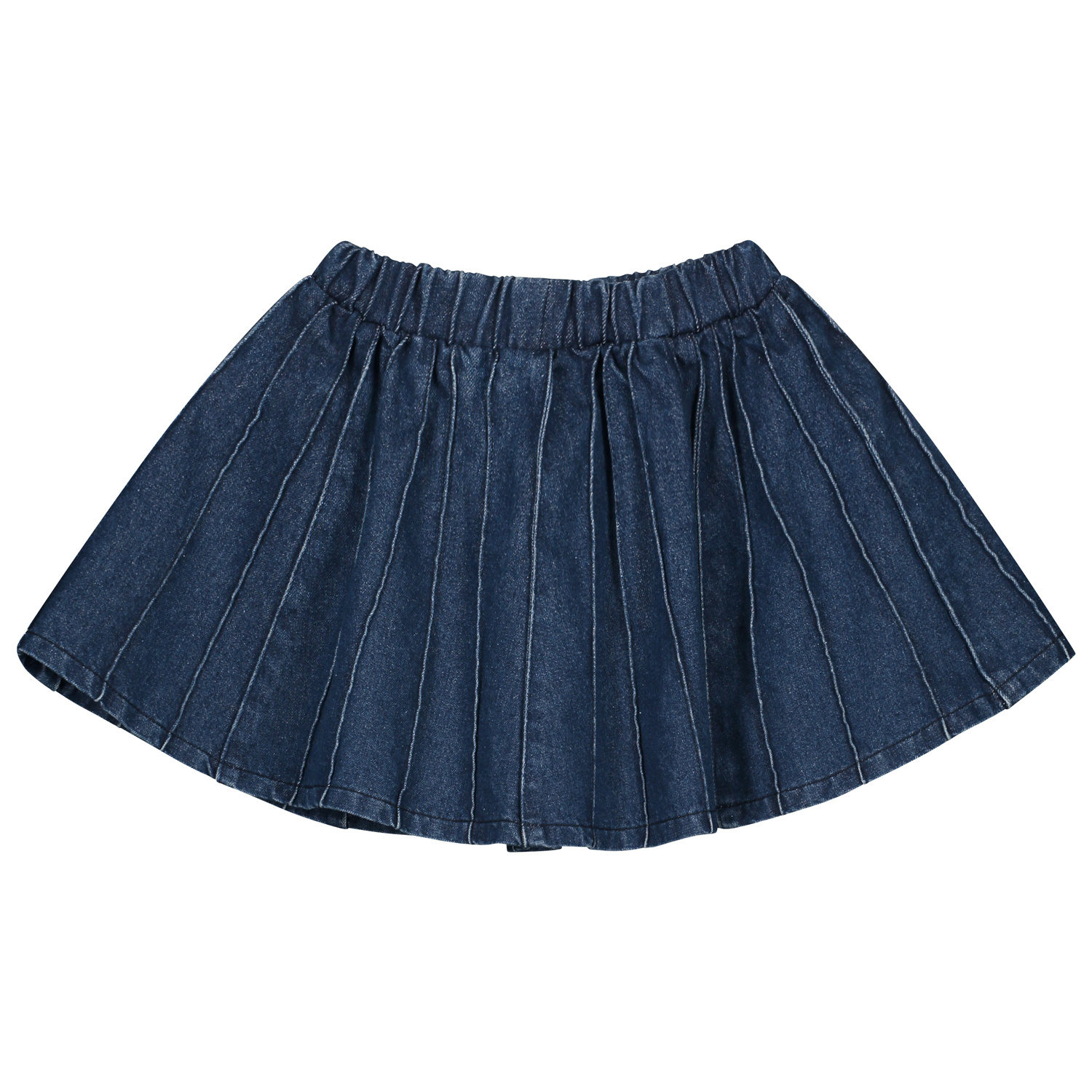 Sally denim plisse skirt indigo-2
