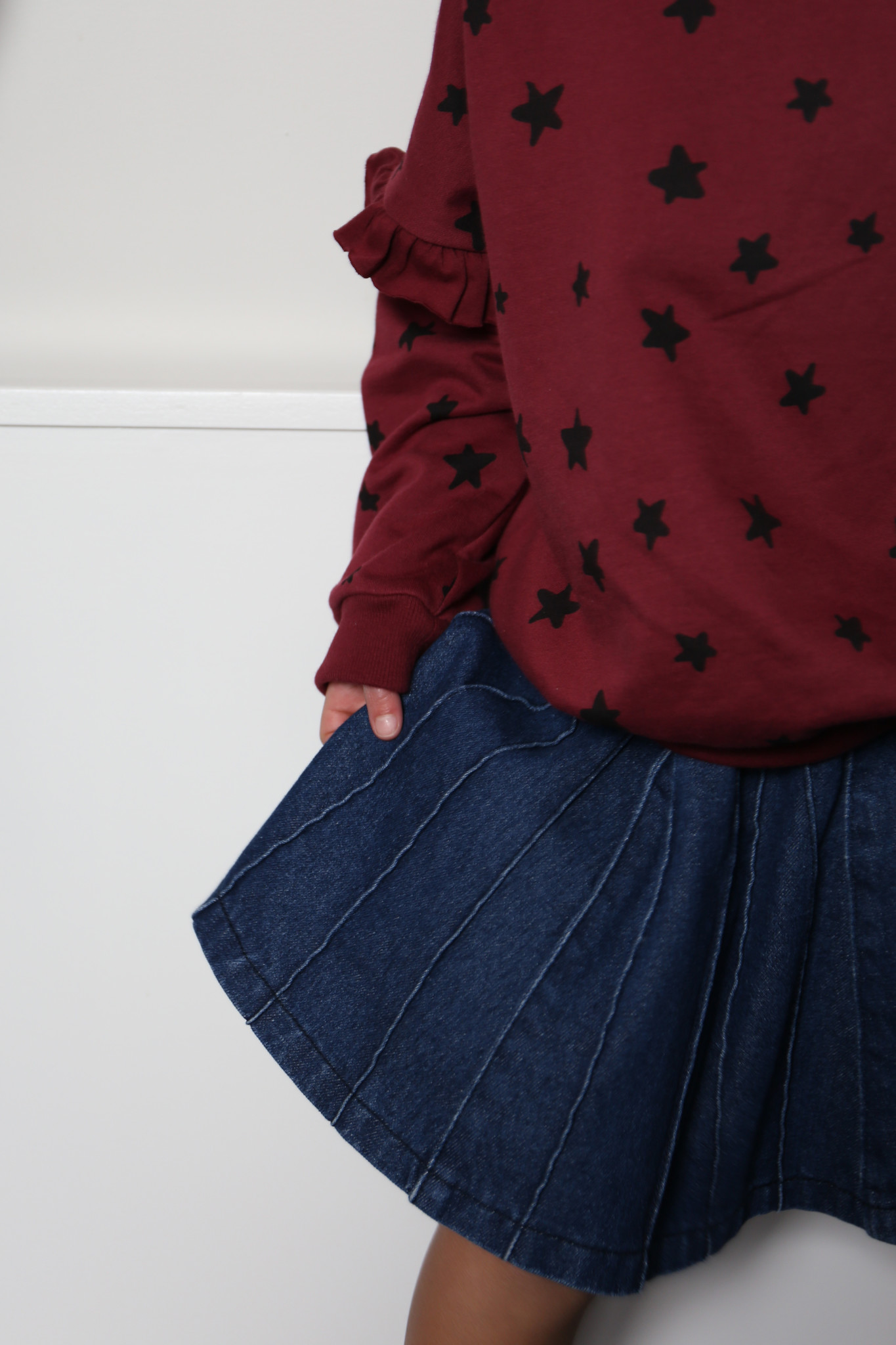 Sally denim plisse skirt indigo-6