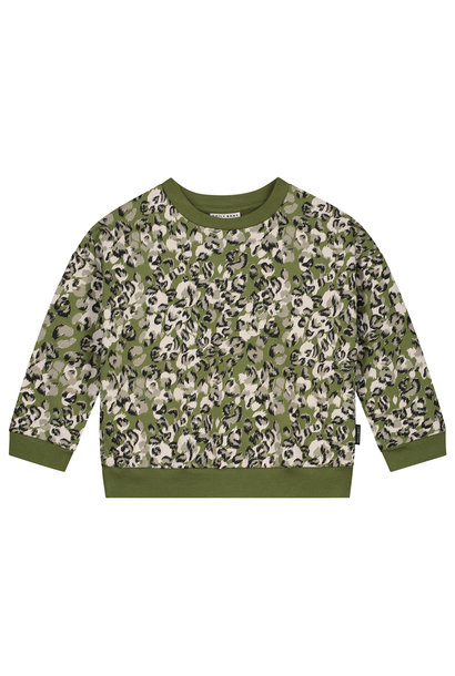Leopard camo sweater olive rose