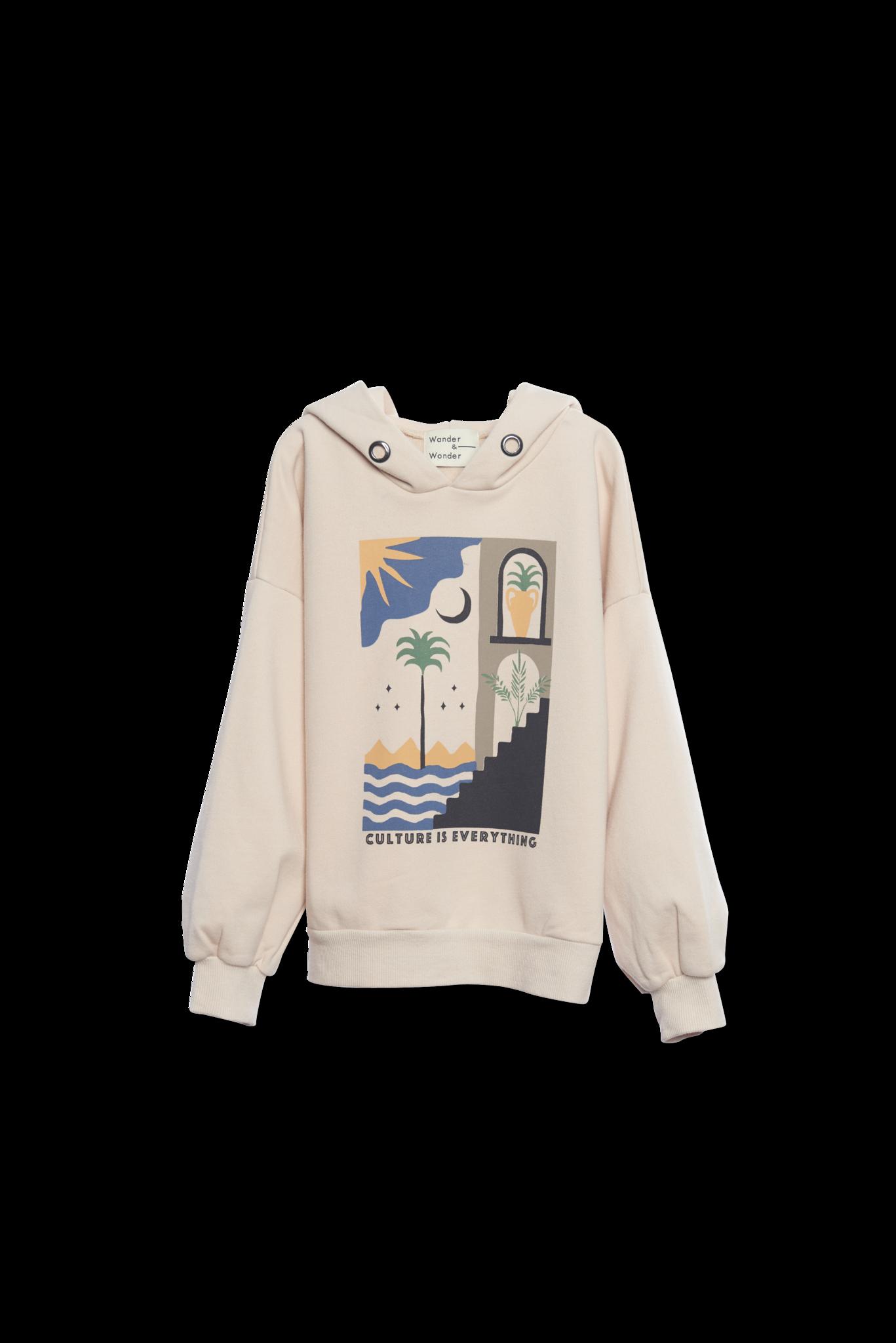 Hoodie sweatshirt Ecru-1