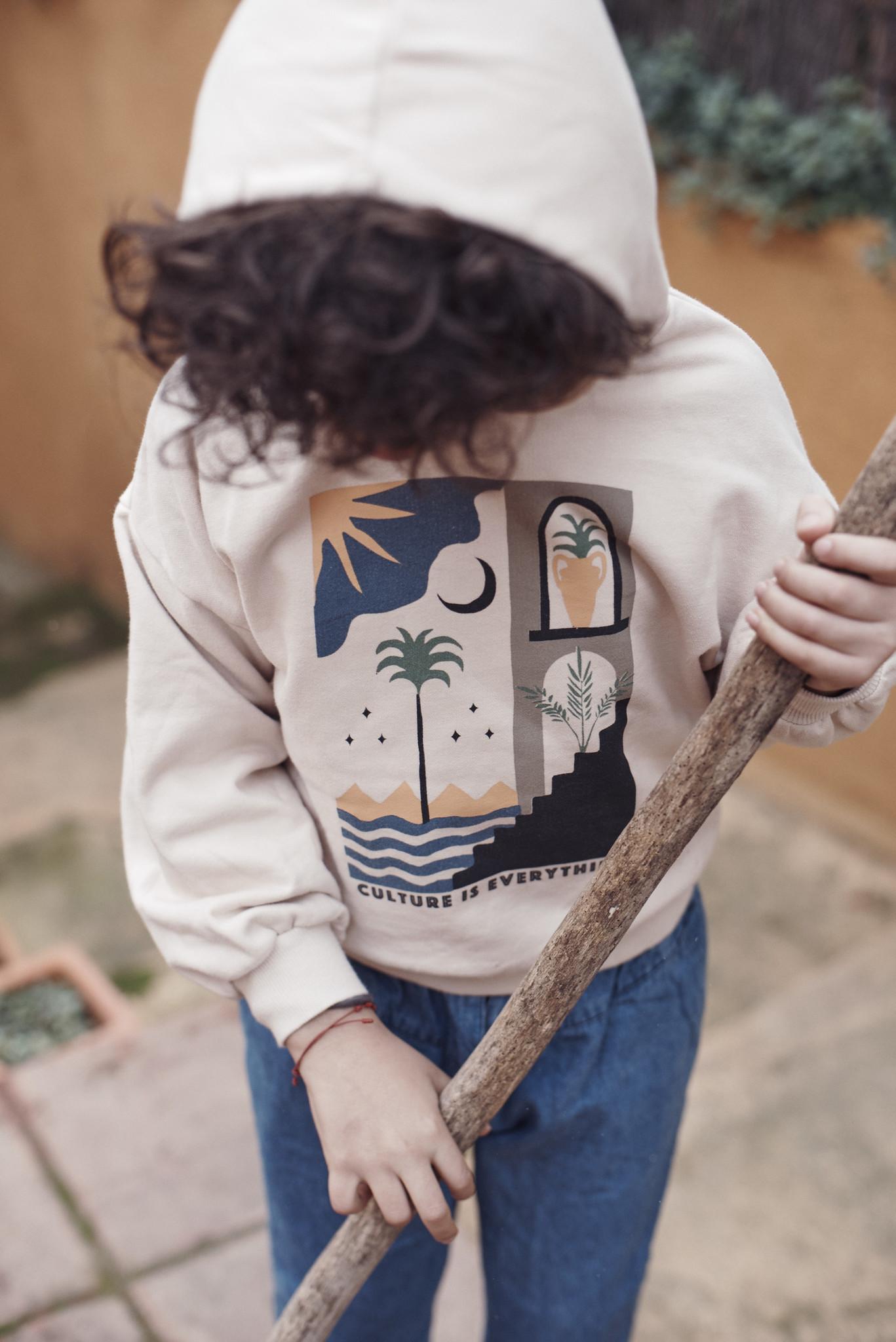 Hoodie sweatshirt Ecru-4