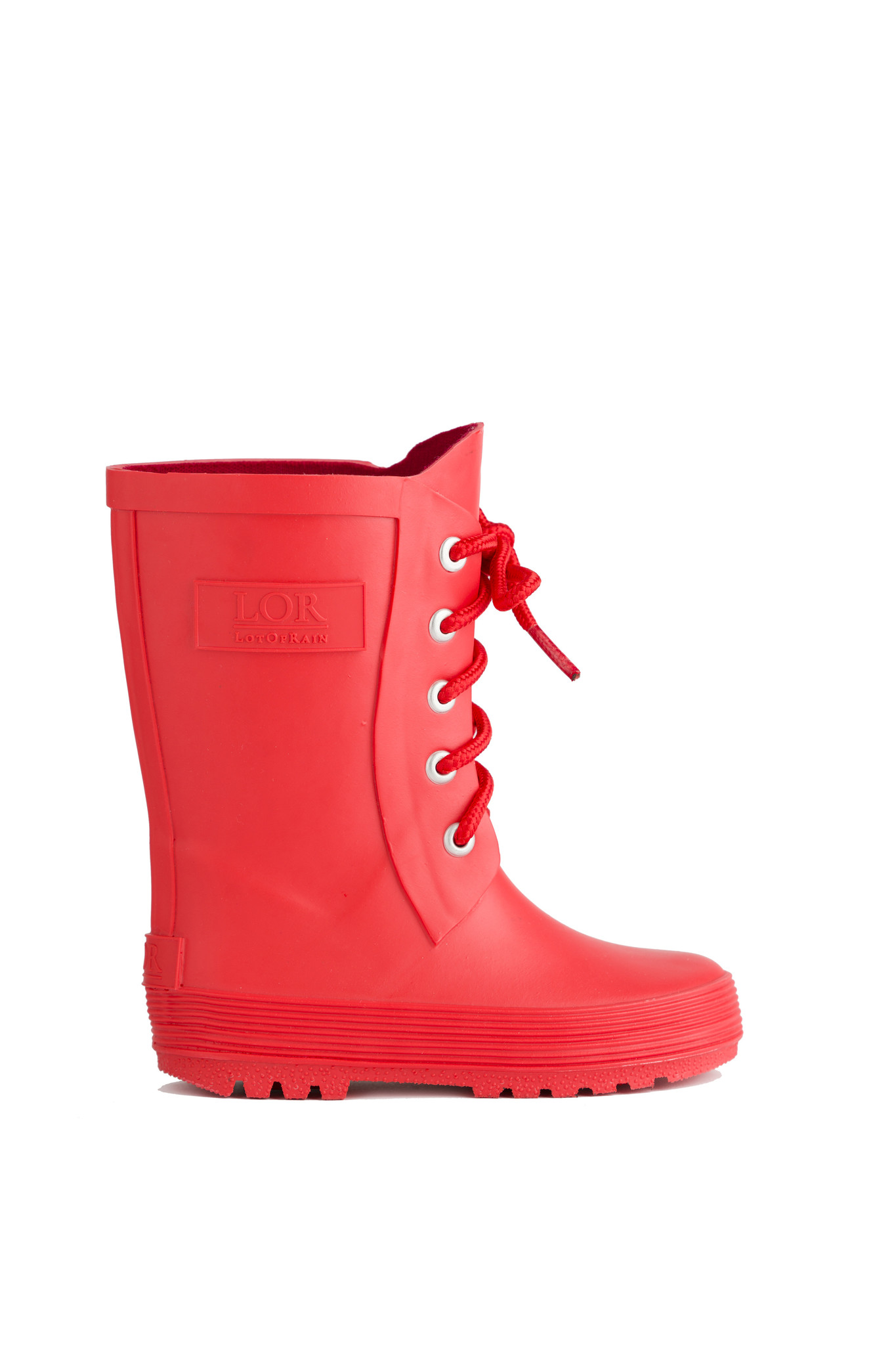 Rain boots with lace - Red-1