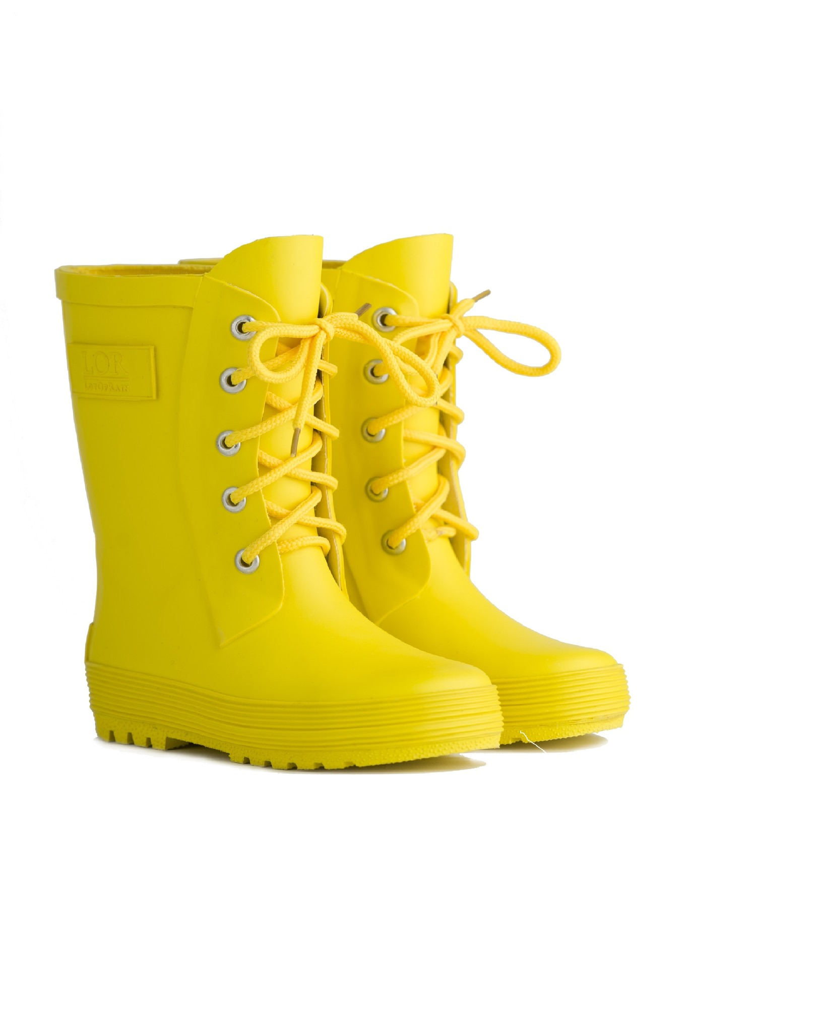 Rain boots with lace - Yellow-2