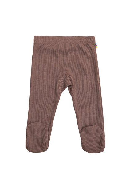 Baby pants with feet rib - wool-silk