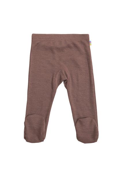 SALE - Baby broekje met voet rib - wol-zijde