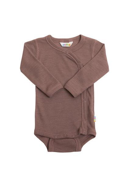 Wrap-over bodysuit rib - wool-silk