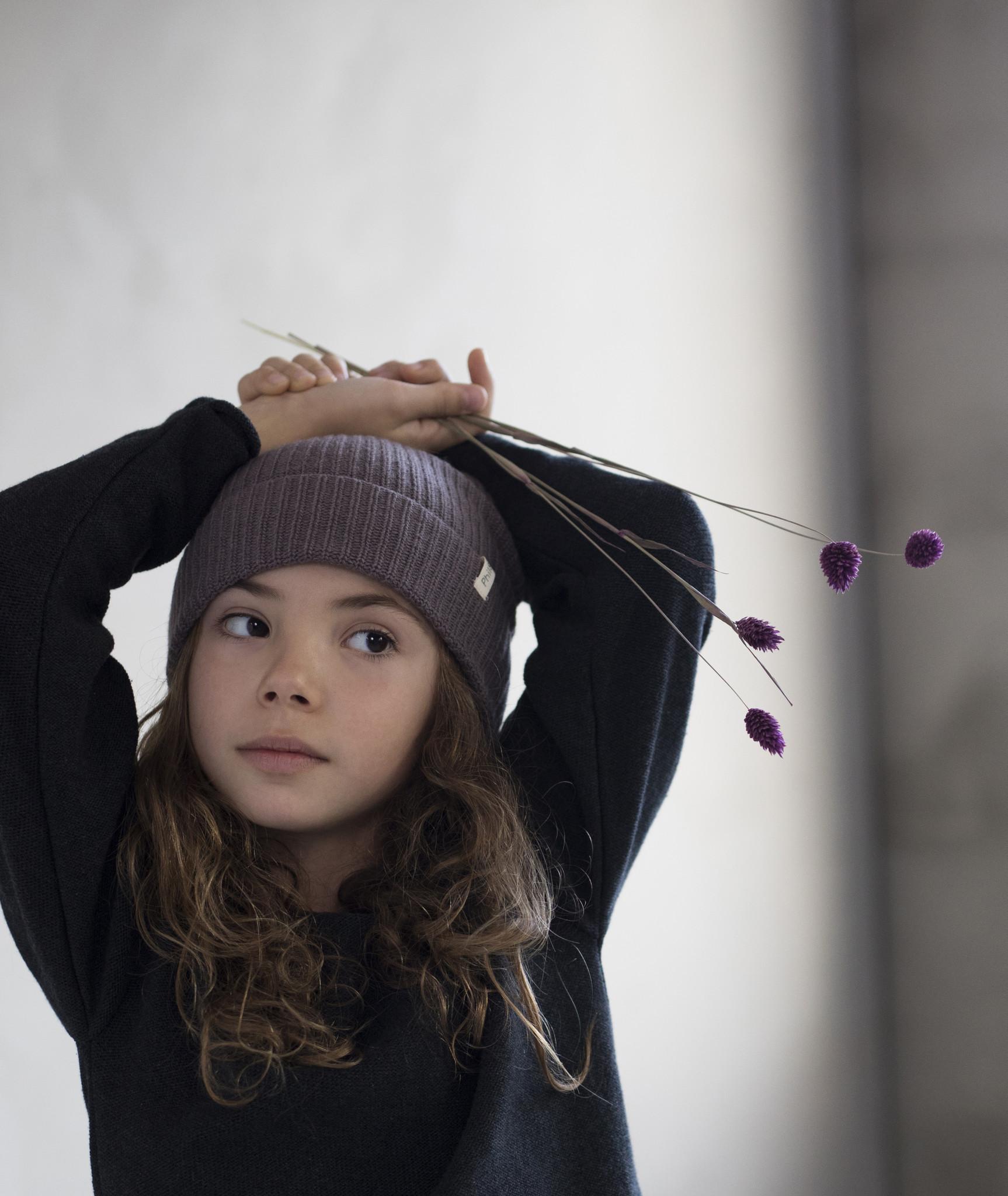 Cashmere - blend knit Beanie - Lavender-2