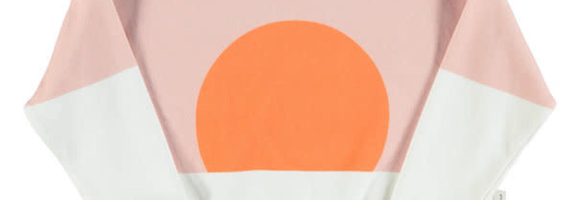 Unisex sweatshirt - pale pink & white w/ orange sun print