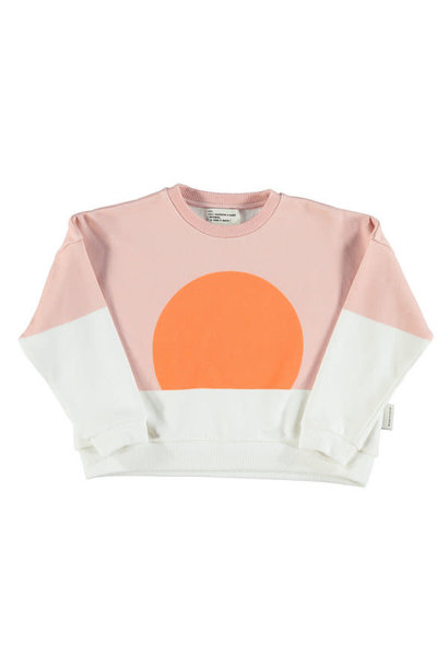 Unisex sweatshirt - pale pink & white w/ orange sun print