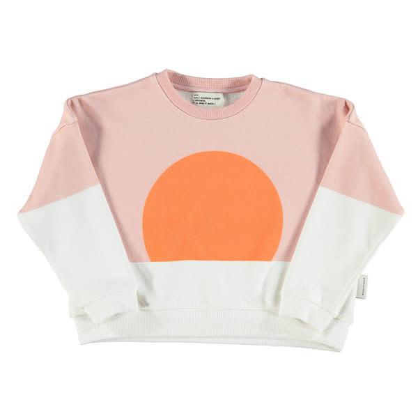 Unisex sweatshirt - pale pink & white w/ orange sun print-1