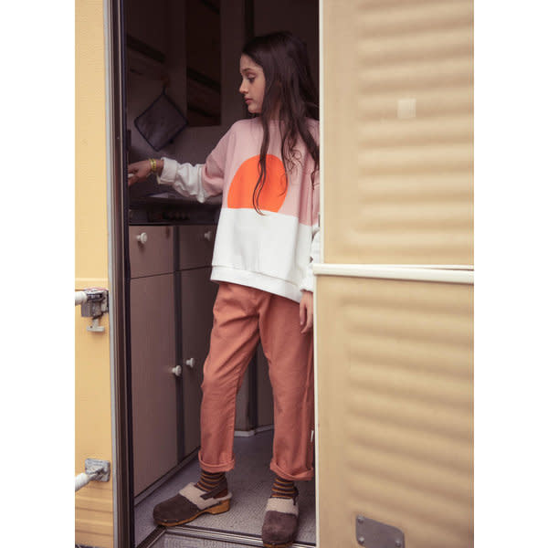 Unisex sweatshirt - pale pink & white w/ orange sun print-2