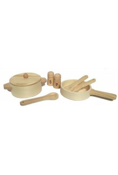Wooden pan set natural