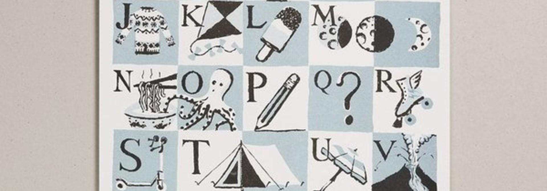Risograph Print - Teal Alphabet