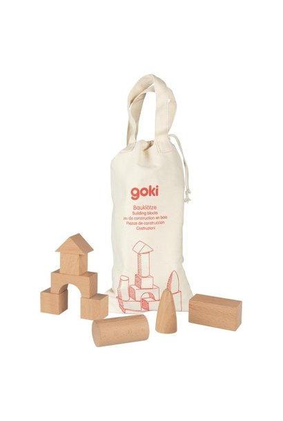 Wooden blocks in bag