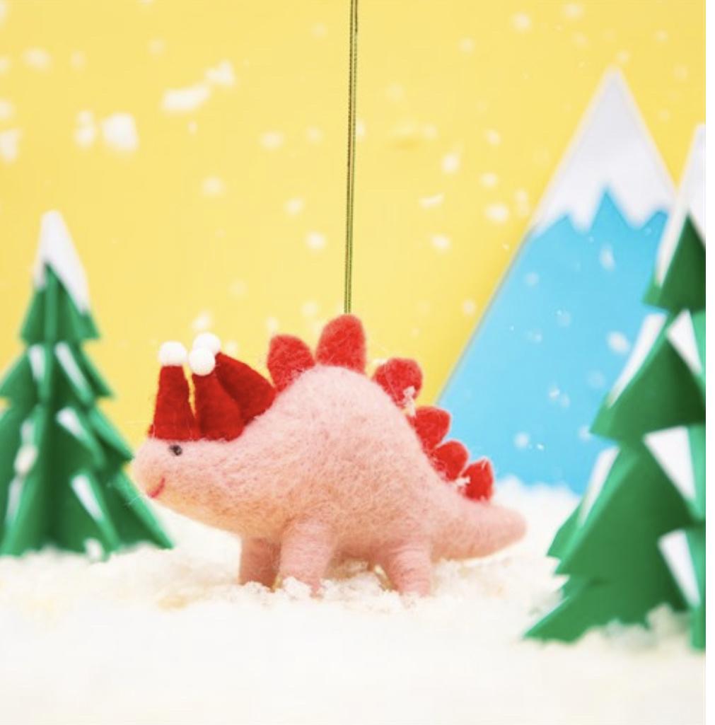 Wonderland Christmas Stegosaurus Felt Decoration-1