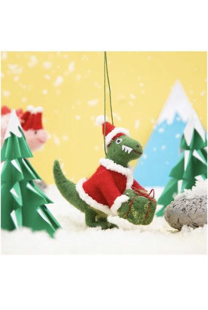 Roarsome Dinosaur Santa Hanging Felt Decoration