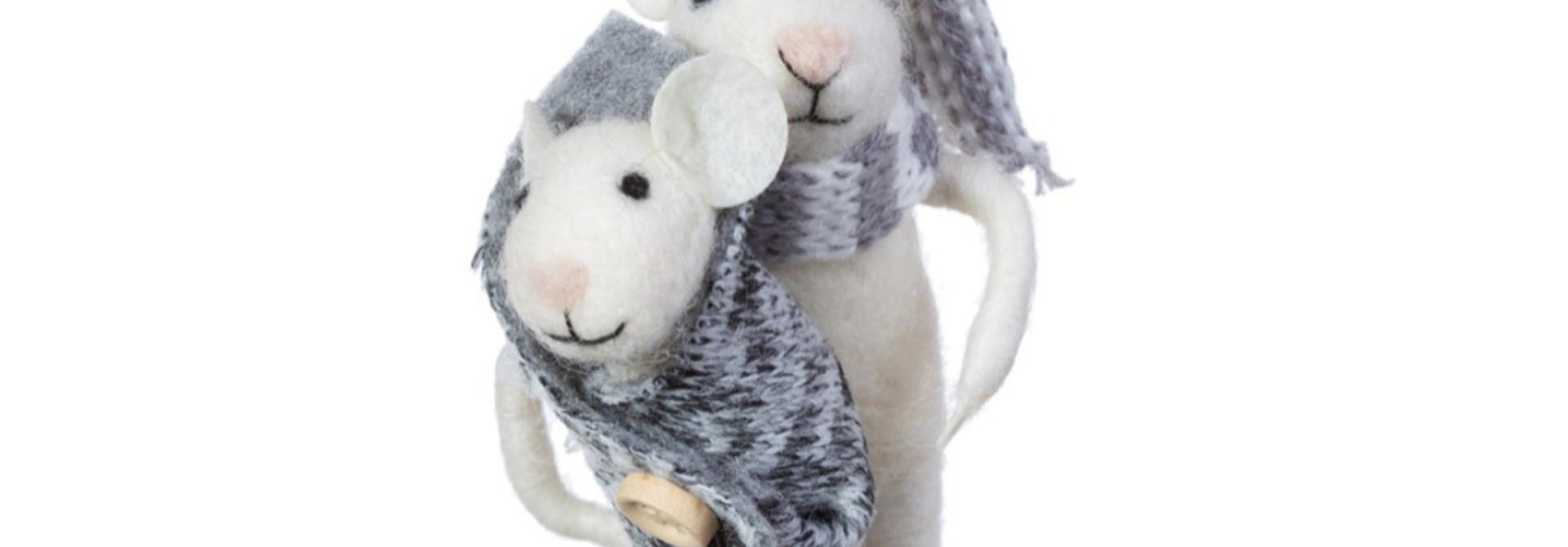 Moeder en baby muis kerstversiering