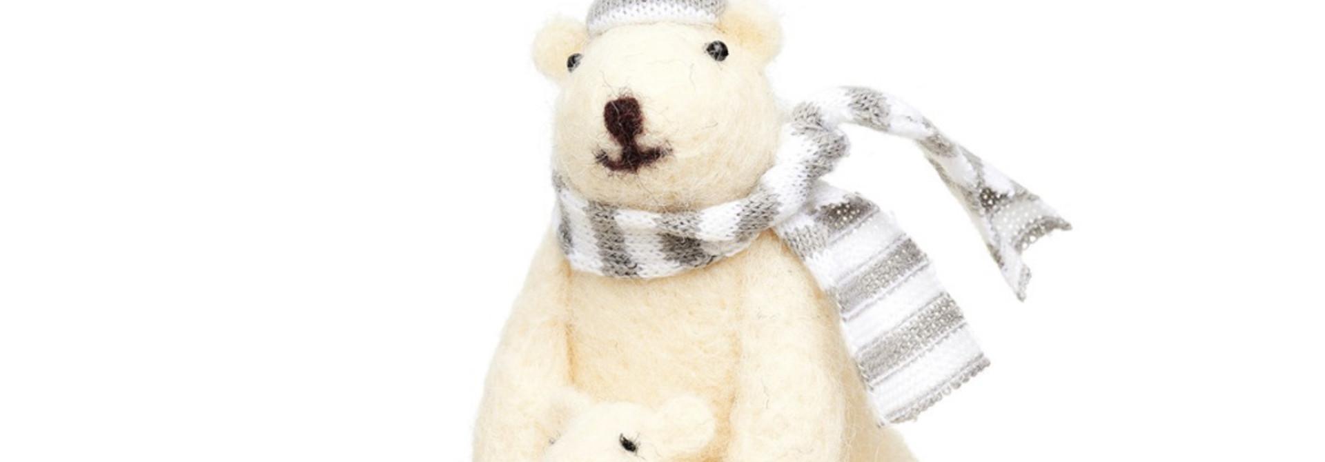 IJsbeer met baby kerstversiering