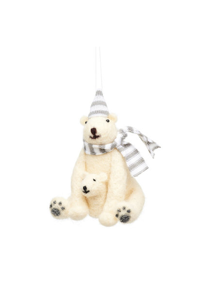 Polar bear with baby felt decoration