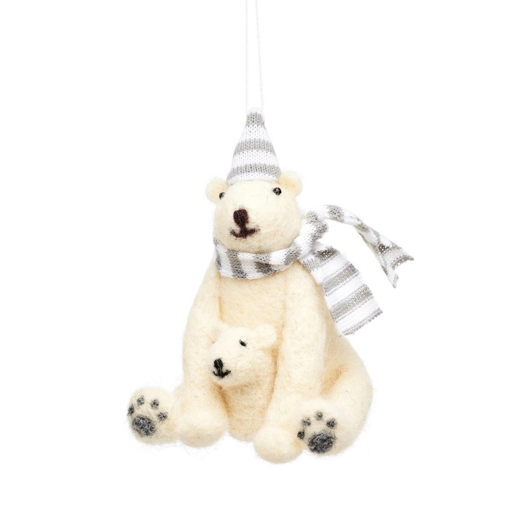 Polar bear with baby felt decoration-1