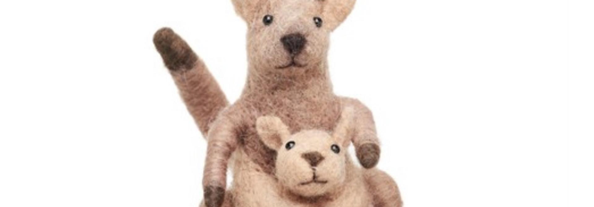 Kangaroo and Baby Felt Decoration