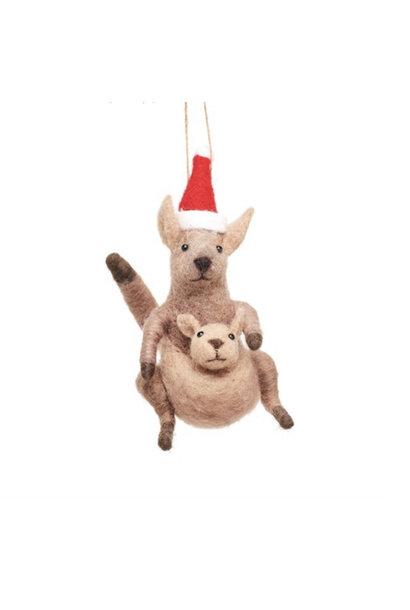 Vilten kangaroo met baby kerstdecoratie
