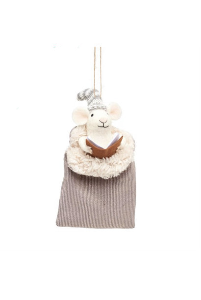 Mouse in grey sleeping bag felt decoration