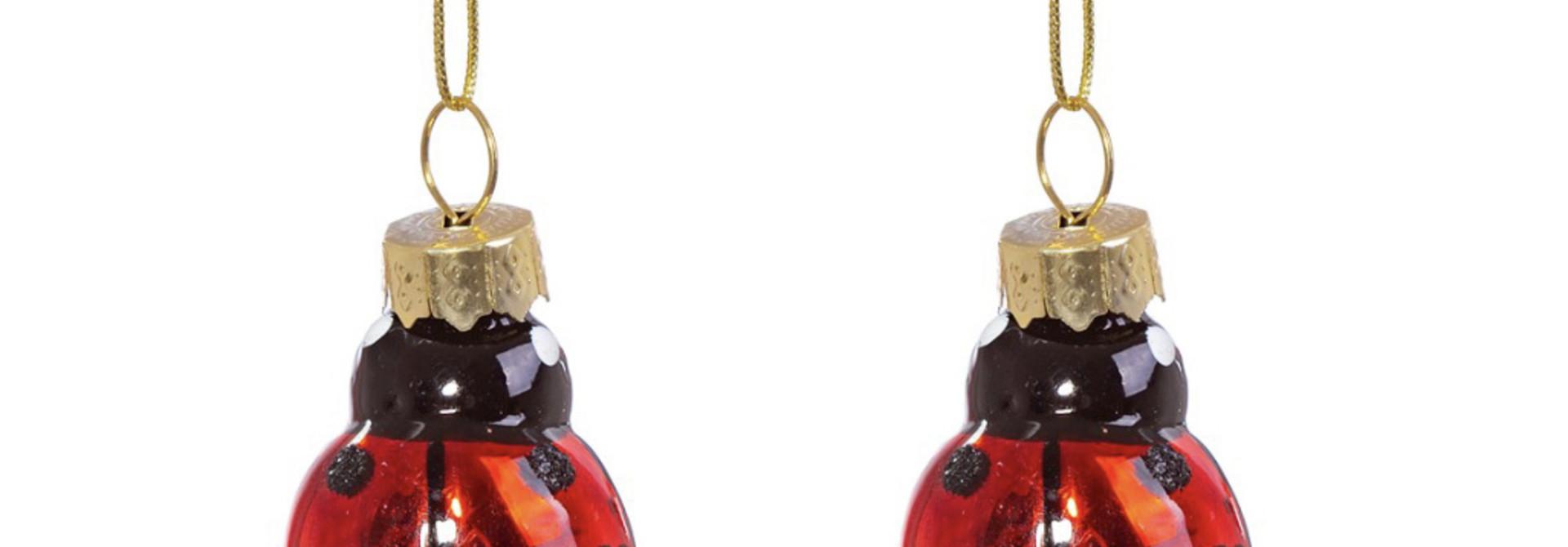 Ladybird shaped mini baubles - set of 2