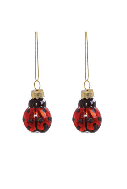 Ladybird shaped mini baubles - set of 2