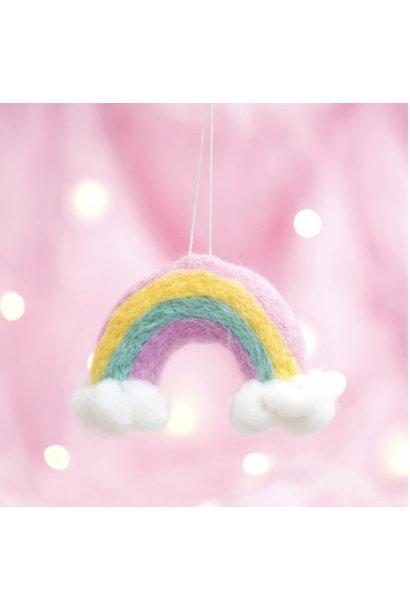 Wonderland vilten regenboog en wolken kerstversiering