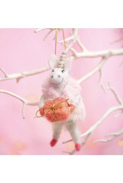 Wonderland Vilten Eenhoorn kerstversiering