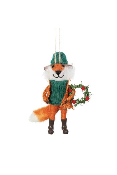 Fox with Wreath Felt Decoration