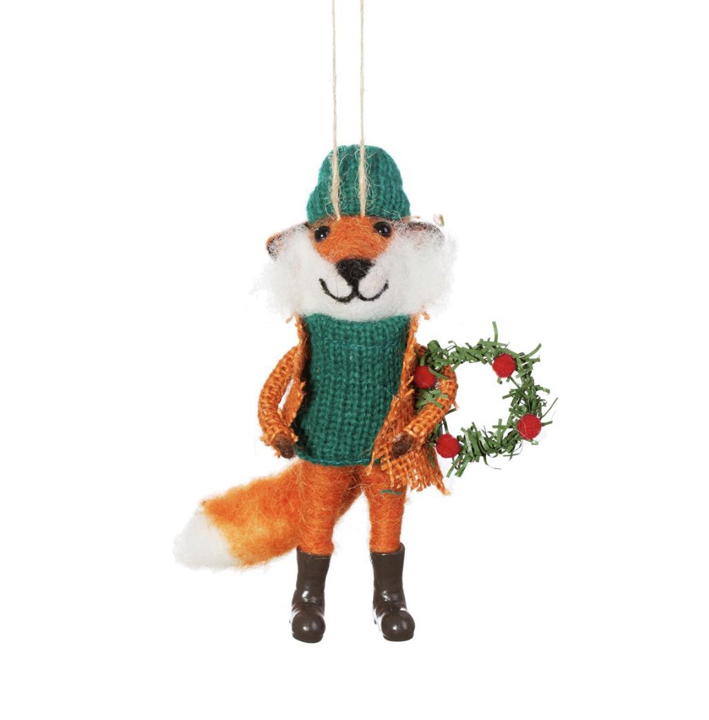 Fox with Wreath Felt Decoration-1
