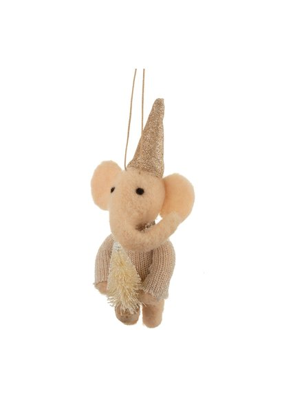 Felt hanger of Elephant with Christmas tree