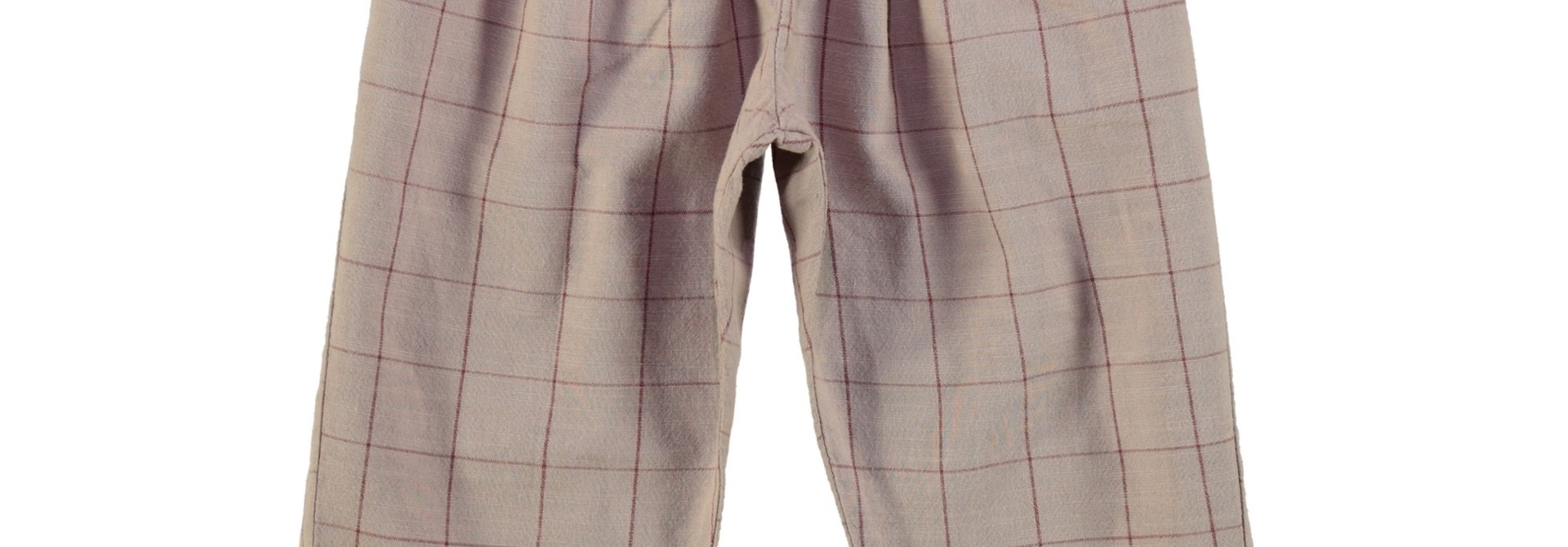 unisex trousers | taupe & garnet checkered