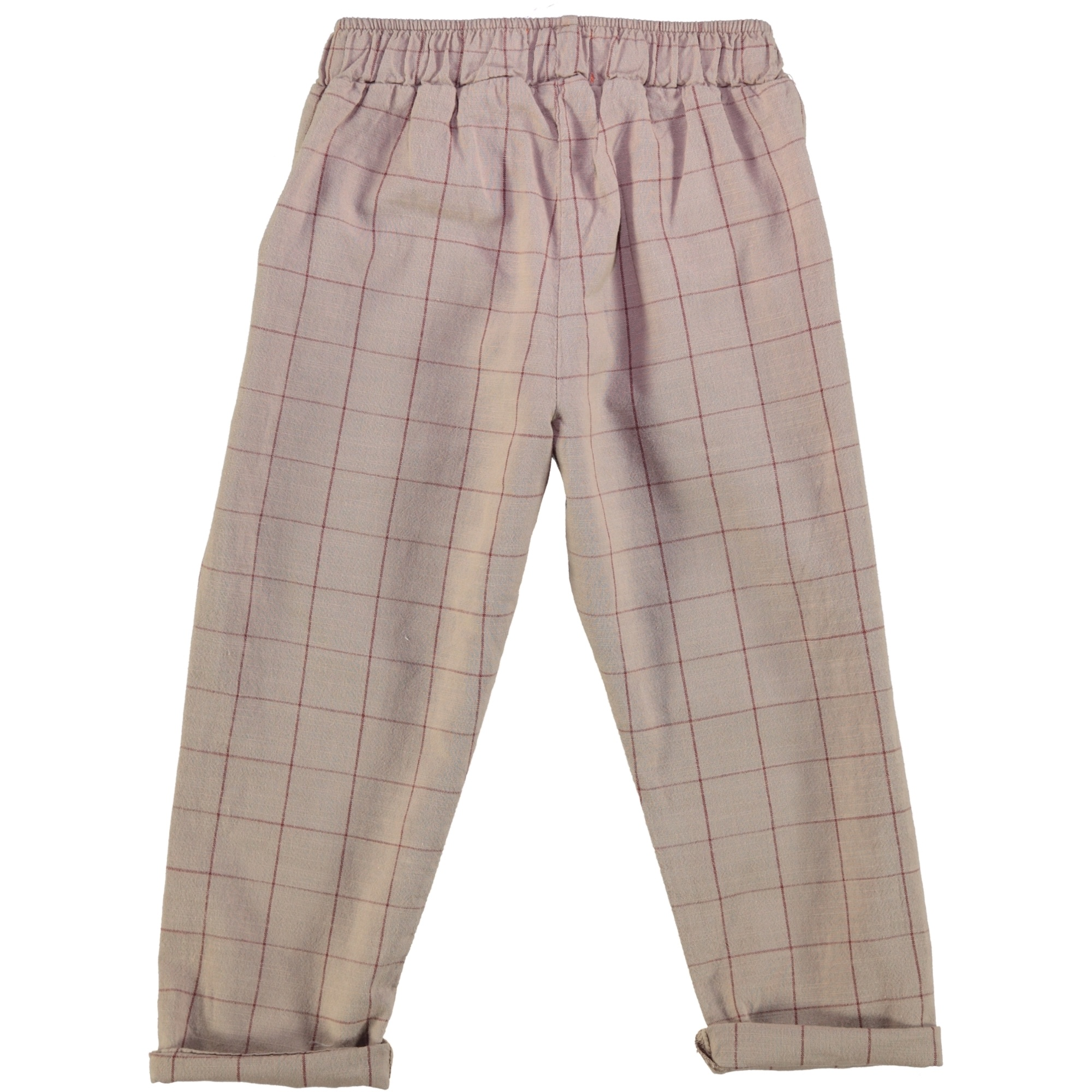 unisex trousers | taupe & garnet checkered-2
