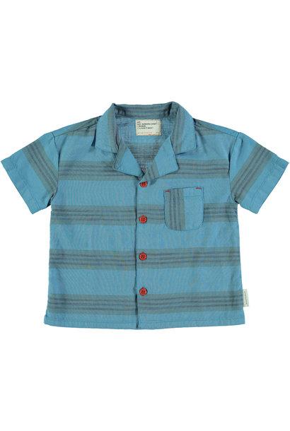 hawaiian shirt | deep blue & multicolor stripes