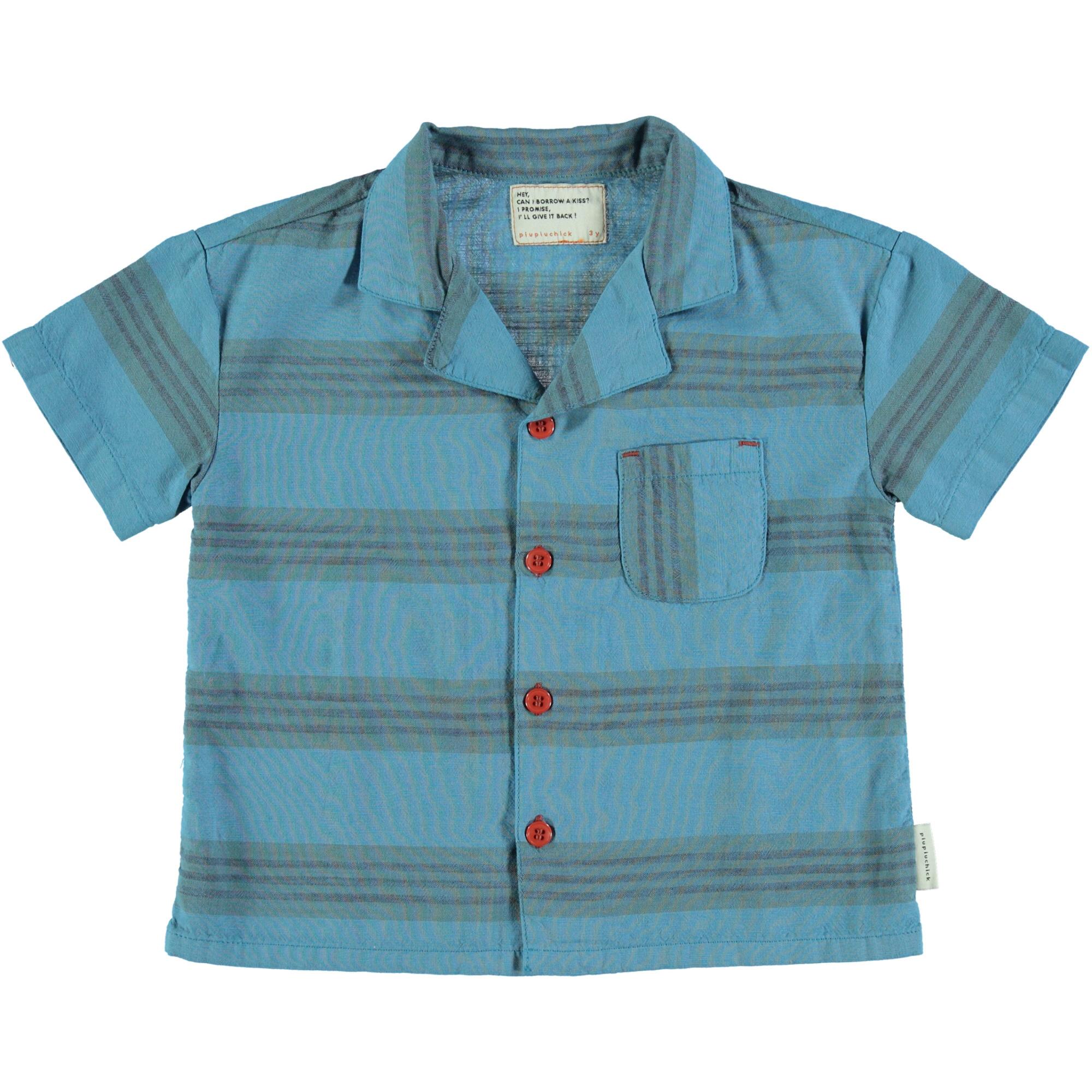 hawaiian shirt | deep blue & multicolor stripes-1