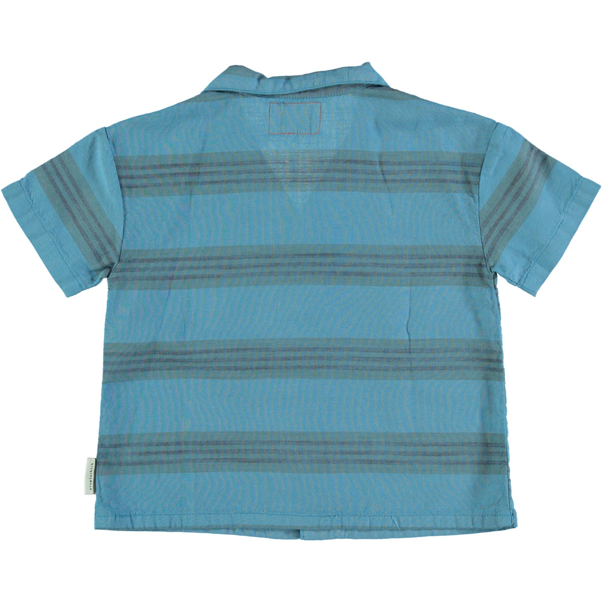 hawaiian shirt | deep blue & multicolor stripes-2